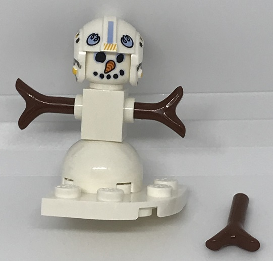Day 24 Build - Snowman Pilot Front View - LEGO 75213 Star Wars Advent Calendar 2018 Review