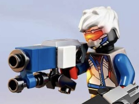 LEGO Overwatch Soldier 76 Minifigure with Bulky Brick-Built Blaster