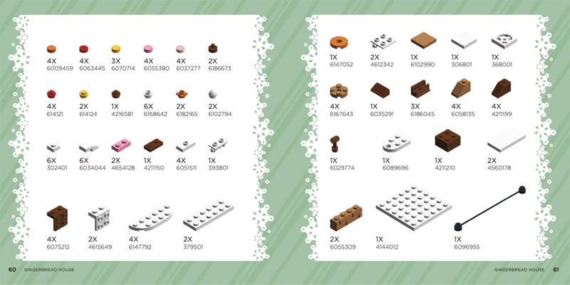 LEGO Christmas Ornament Book Gingerbread House Pieces List