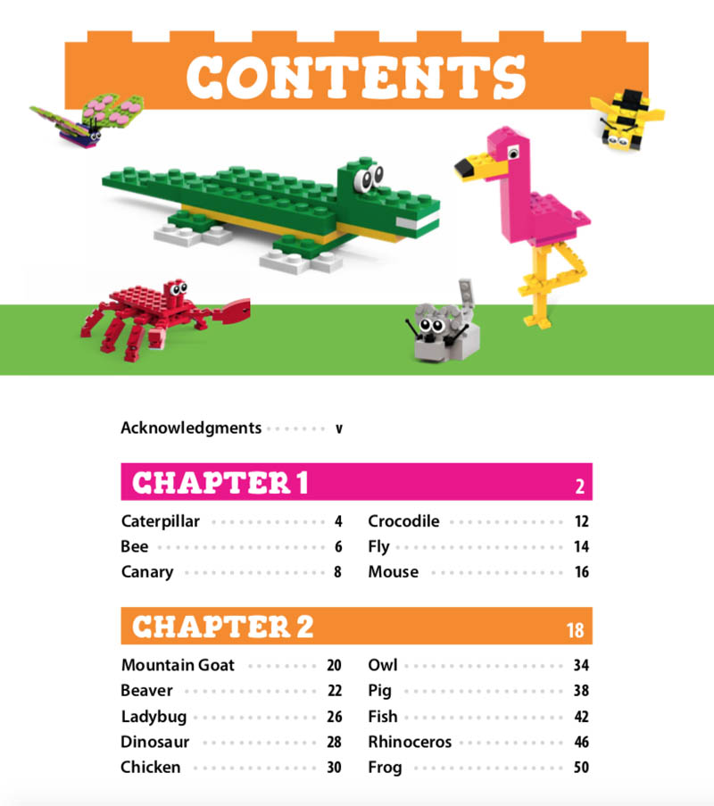 LEGO Zoo Book Contents Page