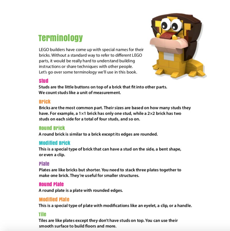 LEGO Zoo Book Terminology Page